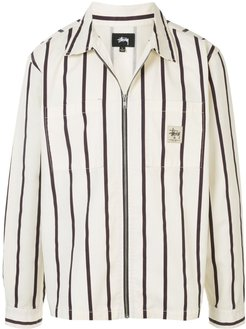 striped shirt jacket - White