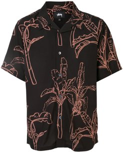 banana tree print shirt - Black