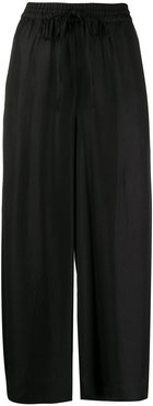 drawstring cropped trousers - Black