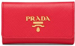 Saffiano leather keychain - Red