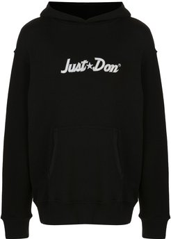logo embroidered oversized hoodie - Black