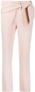 slim-fit bow trousers - PINK