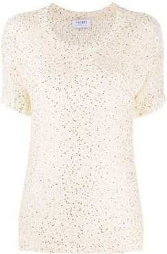 sequin embroidered top - White