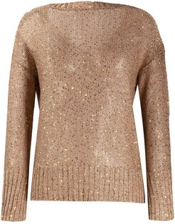sequin embroidered sweater - Brown