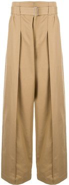 pleated wide-leg trousers - Brown