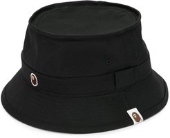 embroidered logo bucket hat - Black