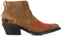 contrast patch design boots - Brown