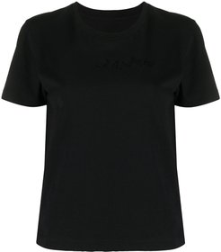 cropped short sleeve T-shirt - Black