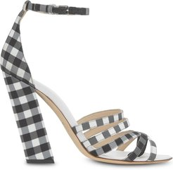 split-toe gingham sandals - Black