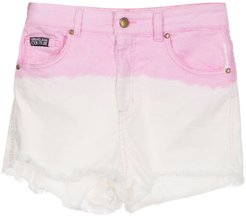 two-tone denim shorts - PINK