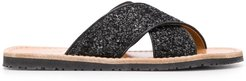 embroidered open-toe sandals - Black