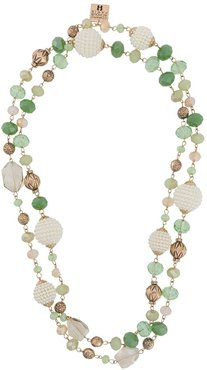 layered beaded chain necklace - Green