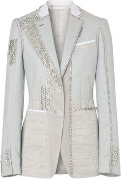 crystal-embroidered blazer - Grey