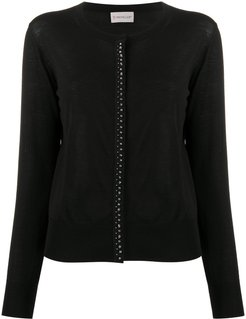studded round neck cardigan - Black