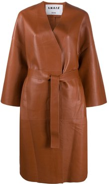 belted leather coat - Brown