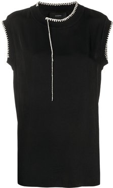 Bo Washed contrast-stitching blouse - Black