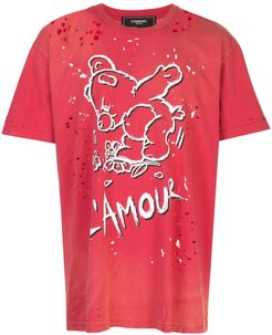 Amour distressed T-shirt - Red
