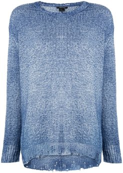 distressed knit jumper - Blue