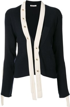 detachable-placket cardigan - Blue