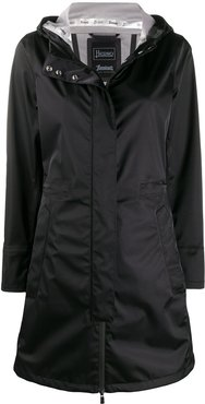 zip-up hooded raincoat - Black