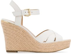cross strap wedged sandals - White