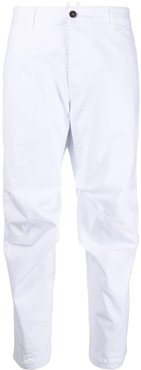 tapered cropped trousers - White