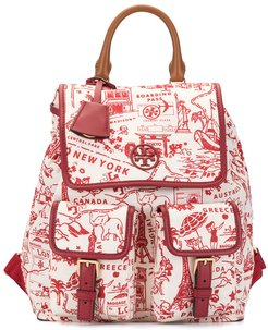 Perry map-print leather trimmed backpack - Red