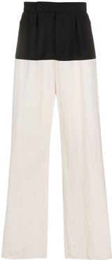 colour-block pleated trousers - Blue