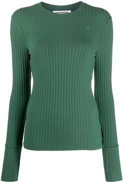 embroidered logo ribbed knit jumper - Green