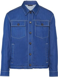 denim blouson jacket - Blue