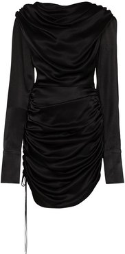 ruched mini dress - Black
