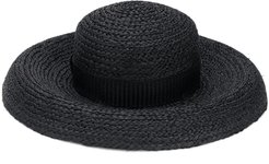 wide brim raffia hat - Black