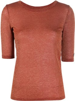 fine knit top - Brown