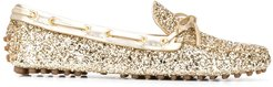 glitter driving shoes - GOLD