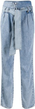 foldover top high-waisted jeans - Blue