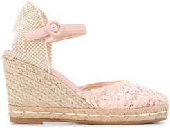 crystal-embellished wedge sandals - PINK