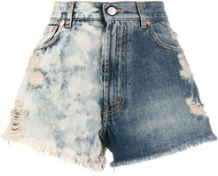 two-tone distressed denim shorts - Blue