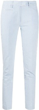 striped slim-fit trousers - Blue