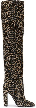 76 leopard-print over-the-knee boots - Neutrals