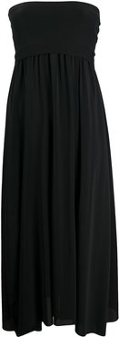 strapless flared midi dress - Black