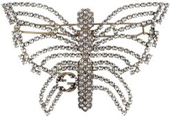 crystal-embellished butterfly hair slide - Metallic