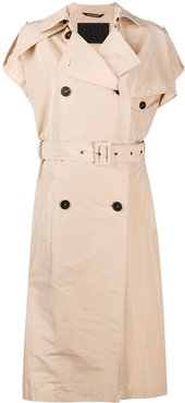 sleeveless double-breasted trench - NEUTRALS