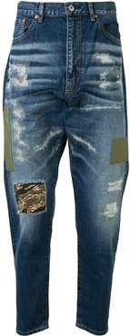 patchwork distressed jeans - Blue