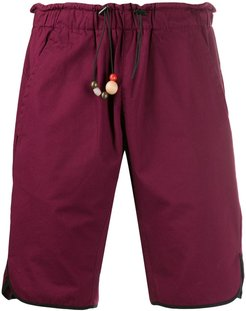 bead detail track shorts - Red