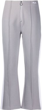 cropped zip front track trousers - Grey