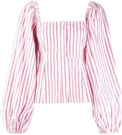 pouf sleeve striped blouse - White