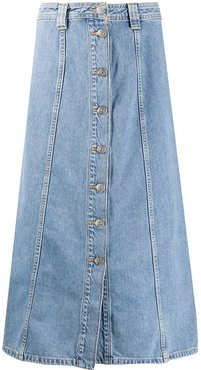 A-line denim midi skirt - Blue