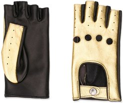 finger-less leather gloves - Black