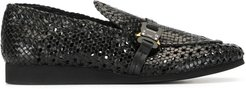 textured loafers - Black