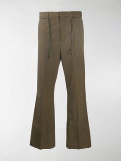 flared low-rise trousers